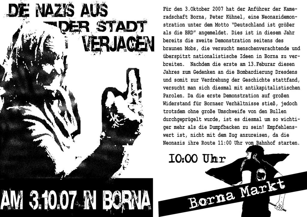 Flyer für die Antifa-Demo am 3. Oktober 2007 in Borna